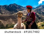 native peruvian girl with her... | Shutterstock . vector #691817482