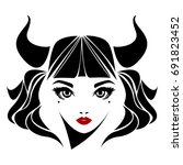 vector illustration of a girl... | Shutterstock .eps vector #691823452