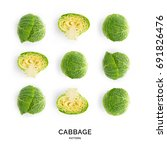 seamless pattern with cabbage.... | Shutterstock . vector #691826476