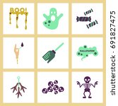 assembly flat icons halloween... | Shutterstock .eps vector #691827475