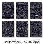 animal  thin line brochure... | Shutterstock .eps vector #691829065