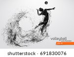 silhouette of volleyball player.... | Shutterstock .eps vector #691830076