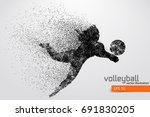 silhouette of volleyball player....   Shutterstock .eps vector #691830205