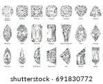 twenty one various diamond cut... | Shutterstock . vector #691830772