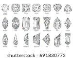 twenty one various diamond cut... | Shutterstock . vector #691830772