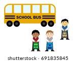 pupils near the school bus ... | Shutterstock .eps vector #691835845