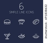 set of 6 eat outline icons set... | Shutterstock .eps vector #691838632