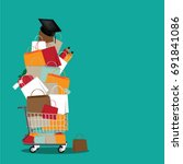 back to school shopping cart... | Shutterstock .eps vector #691841086