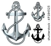 Silver Anchor. Vector...