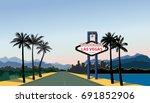 las vegas city skyline. travel...   Shutterstock .eps vector #691852906