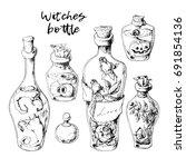 isolated magic bottle jars set... | Shutterstock .eps vector #691854136