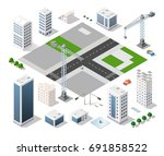 set of modern isometric... | Shutterstock .eps vector #691858522