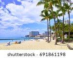 hawaii waikiki beach | Shutterstock . vector #691861198