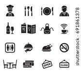 restaurant icons set.  | Shutterstock .eps vector #691861378