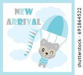 cute baby raccoon flies with... | Shutterstock .eps vector #691864522