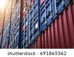 close up industrial logistics... | Shutterstock . vector #691865362