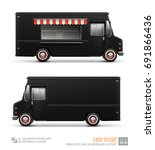 black food truck   vector... | Shutterstock .eps vector #691866436