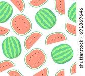 seamless cute vector pattern.... | Shutterstock .eps vector #691869646