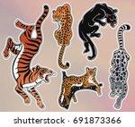set of wild cat designs.... | Shutterstock .eps vector #691873366