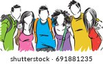 group of students friends vector illustration