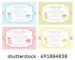 polka dot baby shower... | Shutterstock .eps vector #691884838