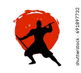 ninja warrior silhouette on red ...