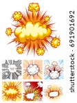 different designs of explosion... | Shutterstock .eps vector #691901692