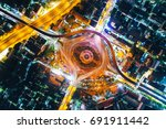 aerial top view traffic circle... | Shutterstock . vector #691911442