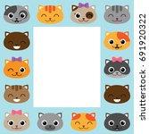 vector frame with cartoon cats... | Shutterstock .eps vector #691920322