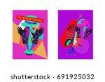 colorful international jazz... | Shutterstock .eps vector #691925032