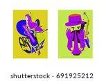colorful international jazz... | Shutterstock .eps vector #691925212