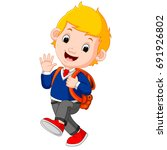 vector illustration of cute boy ... | Shutterstock .eps vector #691926802