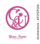 c u initial wedding decorative... | Shutterstock .eps vector #691929166