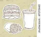 hamburger  fries and drink | Shutterstock .eps vector #69193660