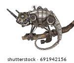 steampunk style lizard.... | Shutterstock . vector #691942156