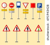 road symbols traffic signs... | Shutterstock .eps vector #691943428