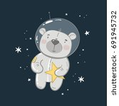 cute bear astronaut in space | Shutterstock .eps vector #691945732
