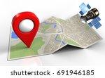 3d illustration of map paper... | Shutterstock . vector #691946185