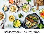 set of healthy vegetarian food  ... | Shutterstock . vector #691948066