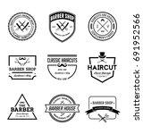 vintage barber shop badges | Shutterstock .eps vector #691952566