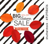 big autumn sale design. vector... | Shutterstock .eps vector #691958656