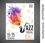 jazz blues festival poster.... | Shutterstock .eps vector #691958698