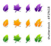 set of leaf sticker icons with... | Shutterstock .eps vector #6919618