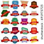 set of twenty discount stickers.... | Shutterstock .eps vector #691973725