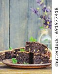 chocolate brownie  selective... | Shutterstock . vector #691977418