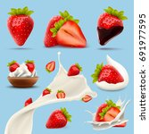 set of delicious strawberry... | Shutterstock .eps vector #691977595