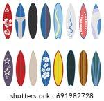 surfboard collection. flat... | Shutterstock .eps vector #691982728
