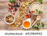 healthy homemade oatmeal with... | Shutterstock . vector #691984942