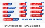 live stream tv news red with... | Shutterstock .eps vector #691985056
