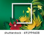 paper art of  frame with green... | Shutterstock .eps vector #691994608